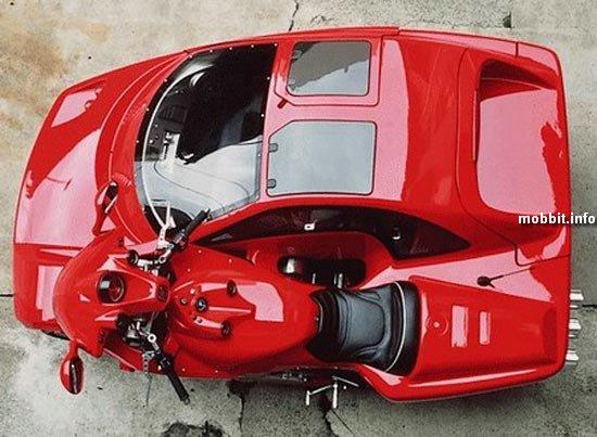 Мотоцикл в одном автомобиль мотоцикл