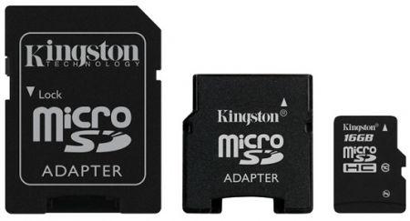 Kingston microSDHC Class 10 объёмом 16 ГБ