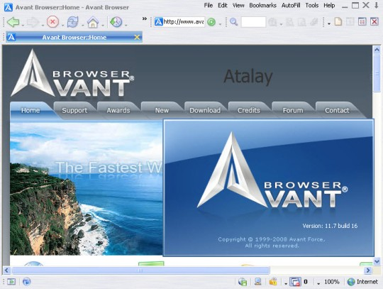 Avant Browser 2010 Build 123 - альтернативный браузер