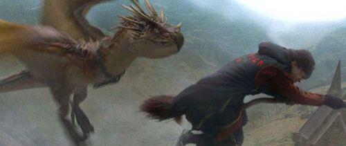 Отсутствующий в книге эпизод погони дракона за Поттером