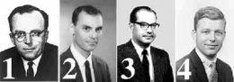 Рис. 1.1.2. Фото пионеров Интернета: 1 Ликлайдер; 2 Ларри Робертс; 3 Паул Бэран; 4 Боб Тэйлор.