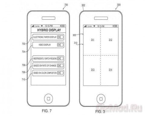 Гибридный дисплей Apple из LCD и E-paper
