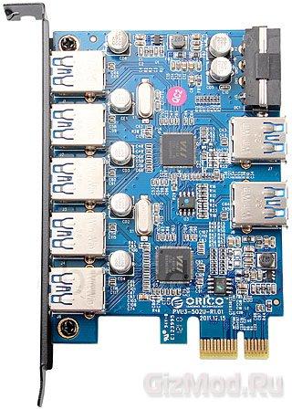 Плата ORICO добавит в десктоп семь портов USB 3.0