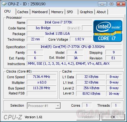 ������ ����� ����� ��������� Core i7-3770K �� 7136 ���