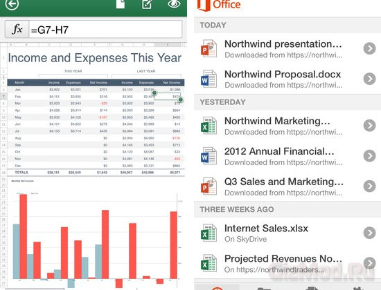 Microsoft Office ���������� �� iPhone