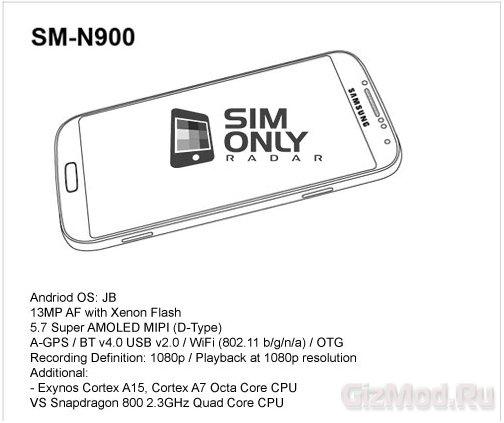 """""""Всплыли"""" характеристики Samsung Galaxy Note III"""