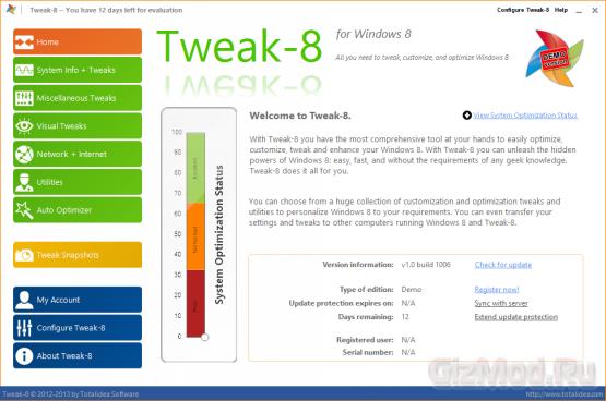 Tweak-8 1.0.1040 - настройщик Windows 8