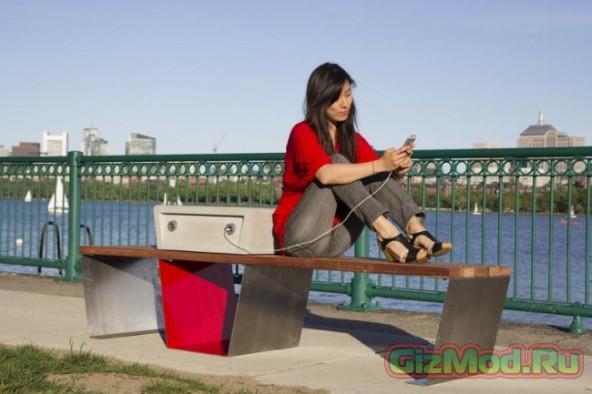 Скамейки Soofa для зарядки мобильных устройств