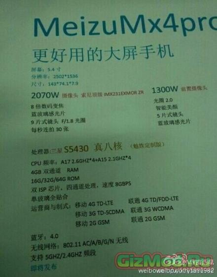 Meizu MX4 Pro предрекают 4 ГБ ОЗУ