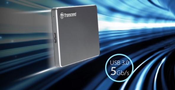 Переносной жесткий диск Transcend StoreJet 25C3 вмещает 2 Тбайт данных.