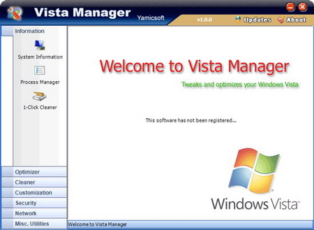 Vista Manager 2.0.9 - настройщик Windows Vista