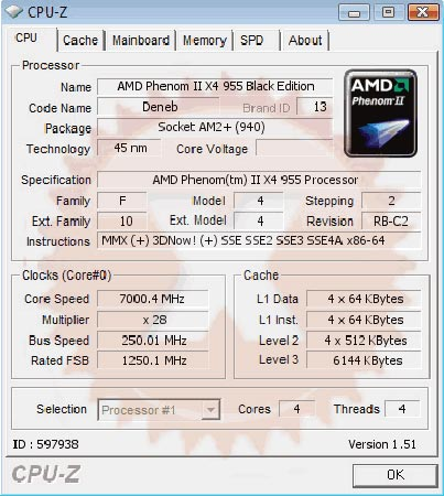 AMD Phenom II X4 955 Black Edition разогнали до 7 ГГц