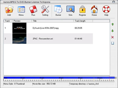 Aurora MPEG To DVD Burner v5.2.36 - создание DVD из AVI