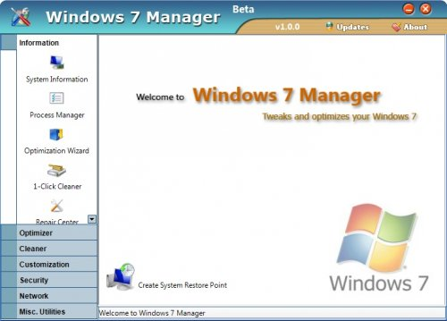 Windows 7 Manager 1.20 - настройщик Windows 7