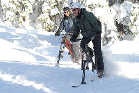 По снежному простору на велосипеде
