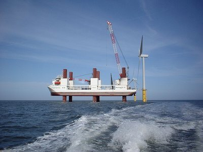 Установка ветряков вблизи Дании