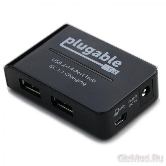 USB-хаб-зарядка Plugable USB2-HUB4BC