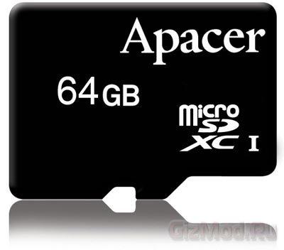 64Гб карточка Apacer microSDXC со скоростью 30МБ/с