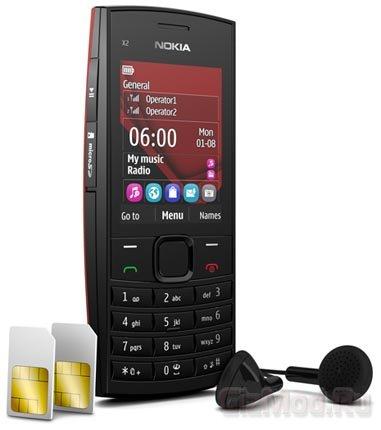 Музыкальный Nokia X2-02 на две SIM-карты