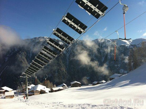 Лыжный подъемник-электростанция в Швейцарии