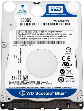 Тонкие винчестеры WD Scorpio Blue для ультрабуков