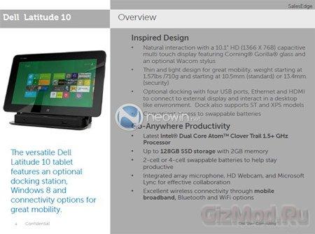Подробности о планшете Dell Latitude 10 с Windows 8