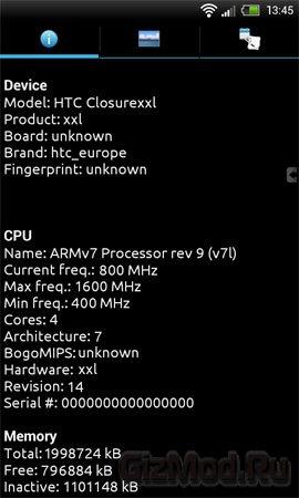 HTC работает над смартфоном с четырехъядерным CPU