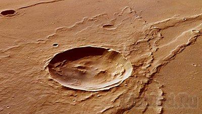 Вода вокруг кратера на Марсе