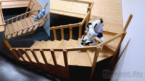 Робот Nao умеет ходить по ступенькам