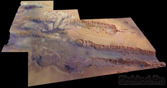 Фото гиганской Долины Маринер на Марсе