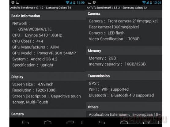 """""""Засветились"""" полные характеристики Samsung Galaxy S IV"""