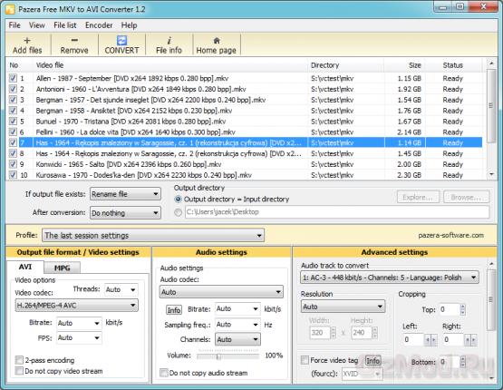 Free MKV to AVI Converter 1.2 - видеоконвертор