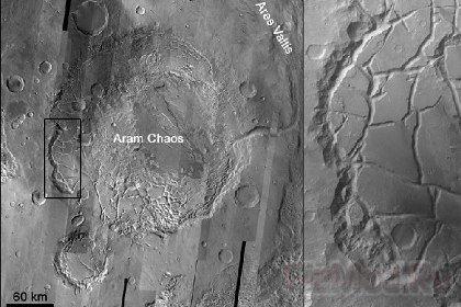 Древнее наводнение разрушило кратер на Марсе