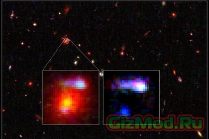 Космическая линза на расстоянии 9,6 миллиарда световых лет