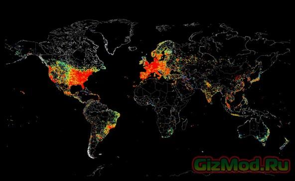 Яркая карта всемирной паутины