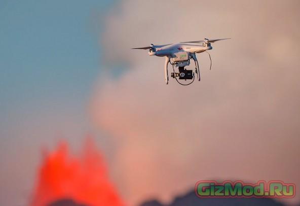 Репортаж из жерла вулкана с помощью квадрокоптера