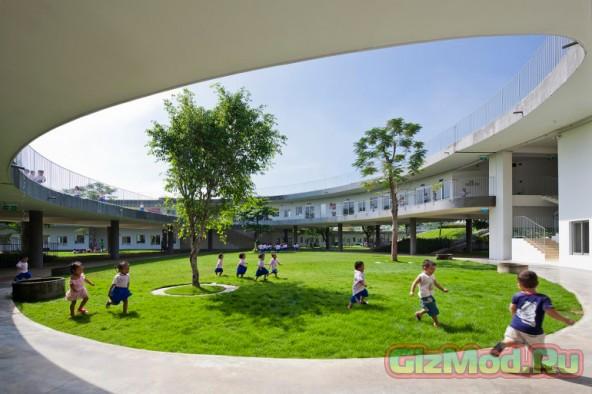 Детский сад с деревьями на крыше