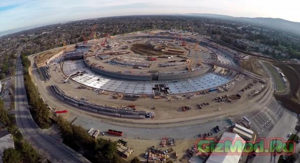 Стройка новой штаб-квартиры Apple: вид с высоты