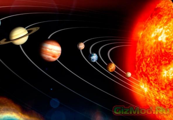 Модель Солнечной системы на песке