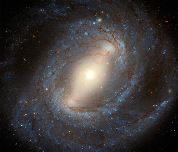 Фотография спиральной галактики с перемычкой