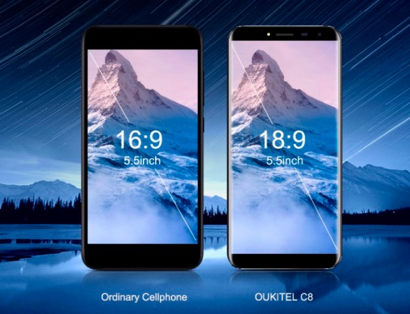 Oukitel C8 - бюджетный смартфон с экраном 18:9