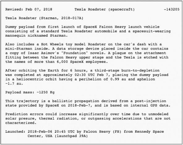 Автомобиль Tesla теперь астрономический объект